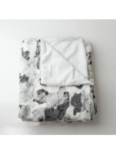 Loren Faux Fur Blanket Pillow Gray Rectangle - FF-LOREN-60