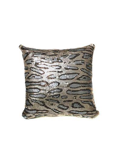 Cheetah Beige Gray Sequin Pillow With Filler( BUY 1 GET 1 FREE) Shimmer Pillow Sham Accent Pillow