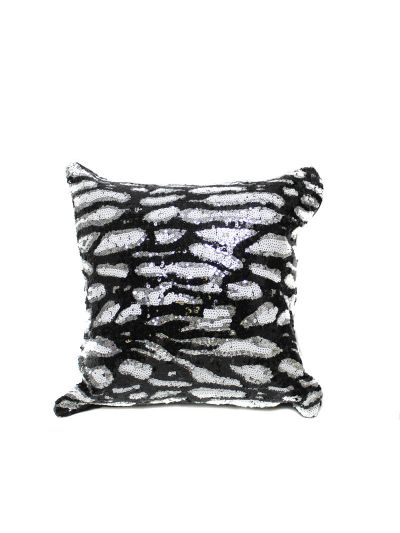 Cheetah Black White Sequin Pillow With Filler( BUY 1 GET 1 FREE) Shimmer Pillow Sham Accent Pillow - 005-CHEETAH-BW-16X16