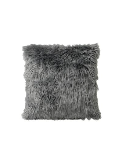 Bancroft Faux Fur Throw Pillow Gray Square - FF-BANCROFT-18 Pillow Cover With Filler