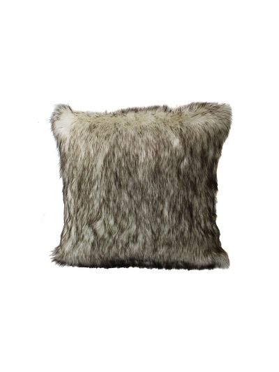 Bardot Faux Fur Throw Pillow Brown Square - FF-BARDOT-18 Pillow Cover With Filler