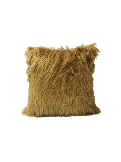 Blondell Faux Fur Throw Pillow Gray Square - FF-BLONDELL-18 Pillow Cover With Filler