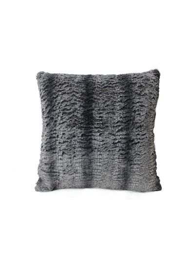 Dunne Faux Fur Throw Pillow Gray Square - FF-DUNNE-18 Pillow Cover With Filler