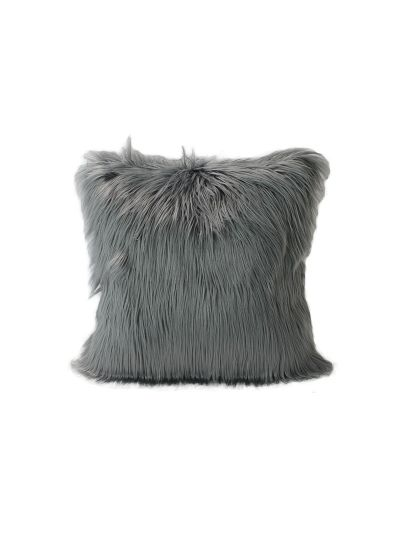 Fontaine Faux Fur Throw Pillow Gray Square - FF-FONTAINE-18 Pillow Cover With Filler