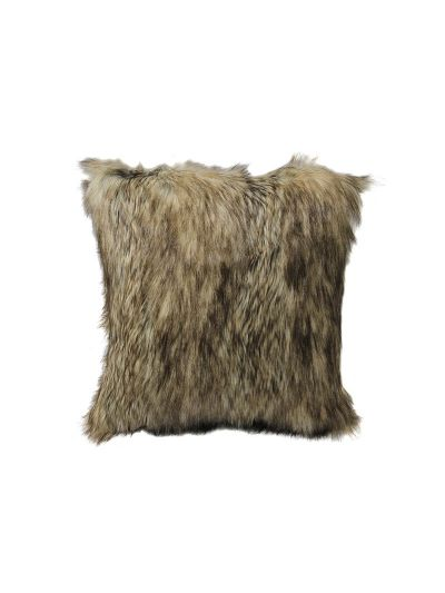 Goddard Faux Fur Throw Pillow Gray Square - FF-GODDARD-18 Pillow Cover With Filler