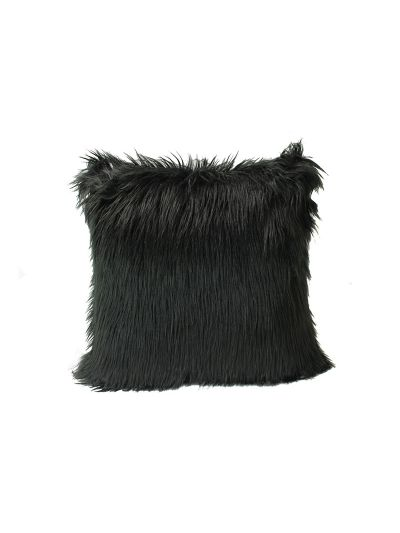 Harlowe Faux Fur Throw Pillow Black Square - FF-HARLOWE-18 Pillow Cover With Filler