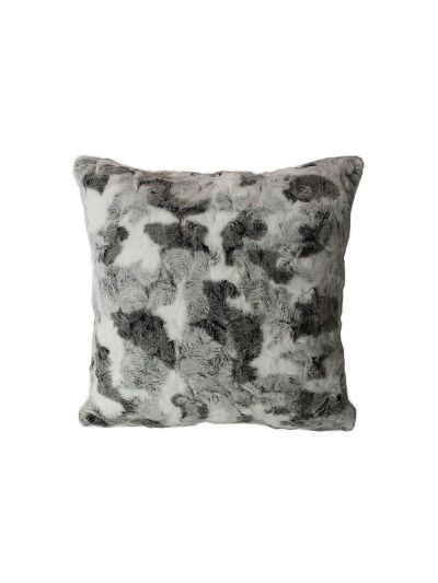 Loren Faux Fur Throw Pillow Gray Square - FF-LOREN-18 Pillow Cover With Filler