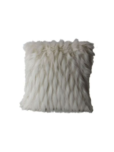 O'Hara Faux Fur Throw Pillow White Square - FF-OHARA-18 Pillow Cover With Filler