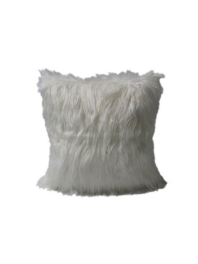 Taylor Faux Fur Throw Pillow Gray Square - FF-TAYLOR-18 Pillow Cover