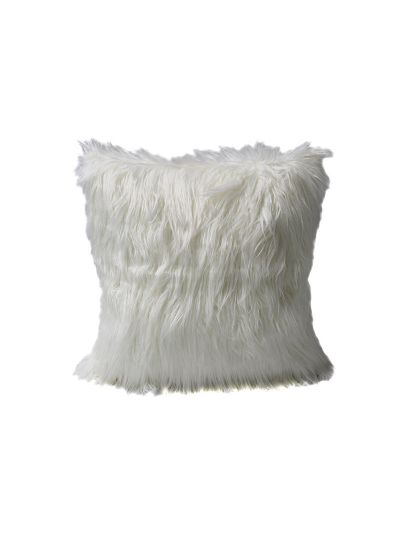 Taylor Faux Fur Throw Pillow Gray Square - FF-TAYLOR-18 Pillow Cover With Filler