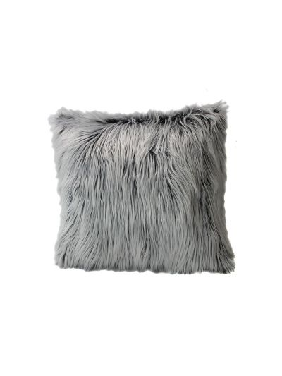 Winters Faux Fur Throw Pillow Black Square - FF-WINTERS-20 Pillow Cover With Filler