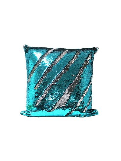 Aquamarine Mermaid Throw Pillow Blue Square - MS-AQUAMARINE-18 Pillow Cover With Filler