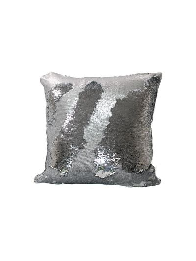 Platinum Mermaid Throw Pillow Silver Square - MS-PLATINUM-18 Pillow Cover With Filler
